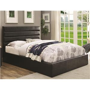 California King Black Leatherette Upholstered Bed with Lift Top Storage
