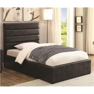 Twin Black Leatherette Upholstered Bed with Lift Top Storage