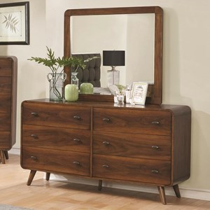 Mid-Century Modern 6 Drawer Dresser and Mirror Combo