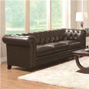 Traditional Button-Tufted Sofa with Rolled Back and Arms