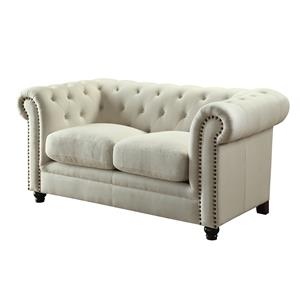Traditional Button-Tufted Love Seat with Rolled Back and Arms