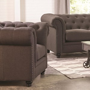 Traditional Button-Tufted Chair with Rolled Arms and Back