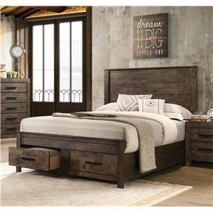 Queen Panel Bed with Underbed Drawers