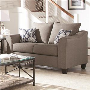 Grey Loveseat with Flared Arms