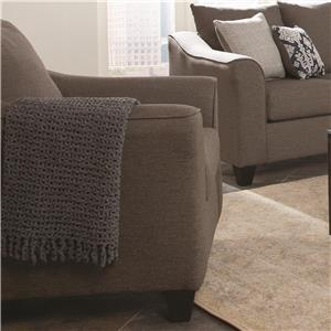 Upholstered Grey Chair With Flared Arms