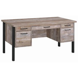 Industrial 4 Drawer Weathered Oak Writing Desk with One Cabinet