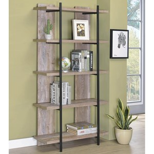 Industrial Weathered Oak Bookshelf with 5 Shelves
