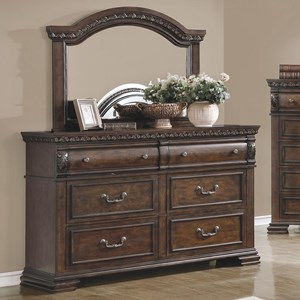 6 Drawer Dresser and Mirror Combo in Warm Bourbon Finish