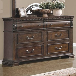 6 Drawer Dresser with Felt Lined Top Drawers