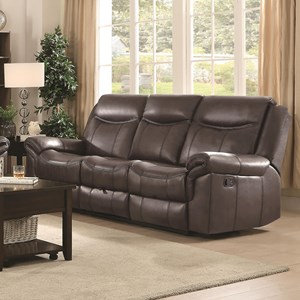 Motion Sofa with Pillow Arms and Outlet