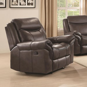 Plush Glider Recliner with Contrast Piping