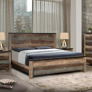 Rustic California King Bed with Nailhead Accents