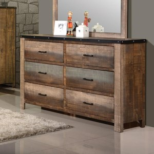 Rustic Dresser with Six Drawers
