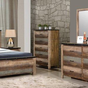 Rustic Five Drawer Chest with Metal Accent
