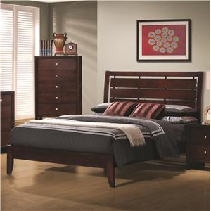 Full Platform Style Bed with Cut-Out Headboard Design