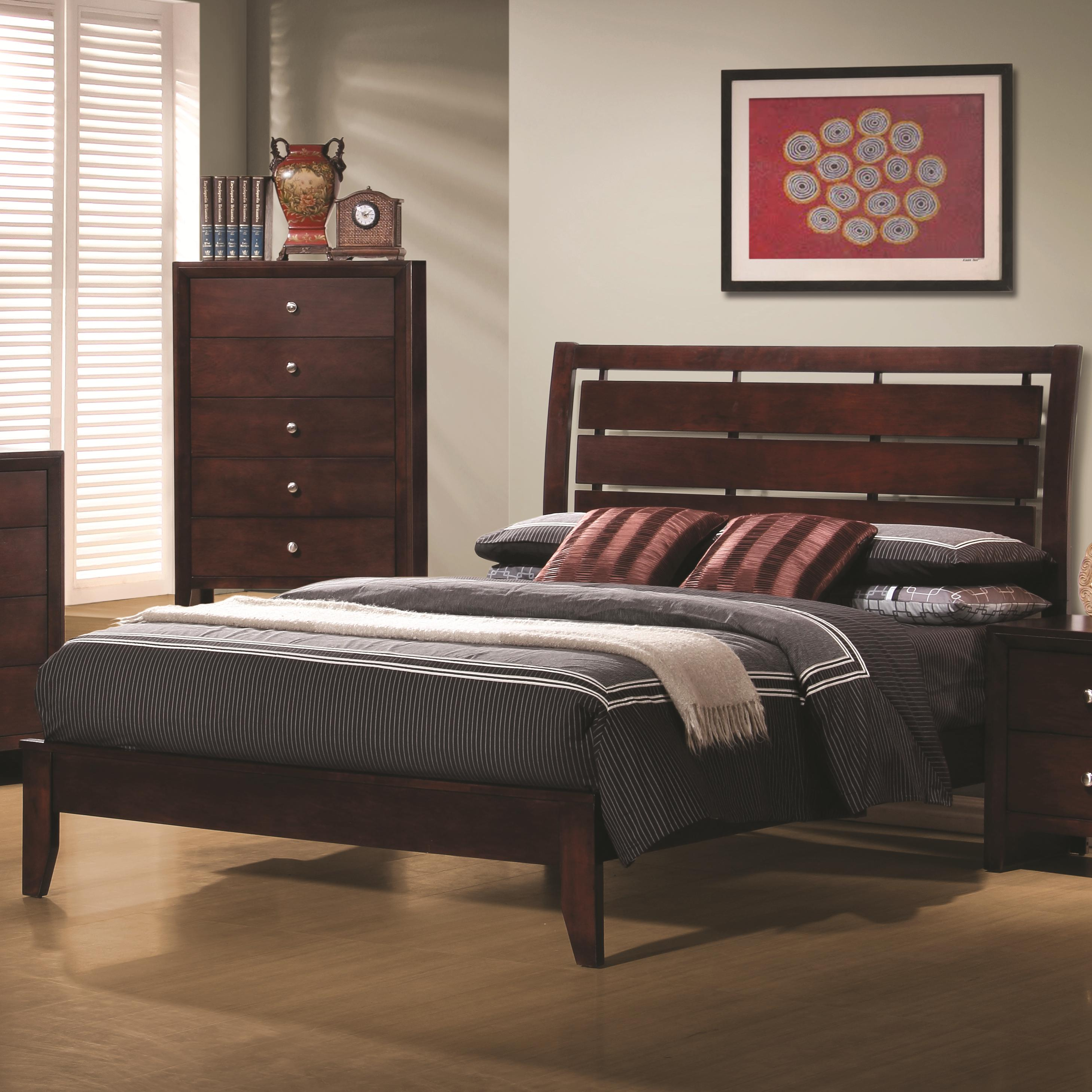 coaster serenity queen platform style bed with cutout