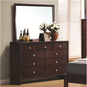 9 Drawer Dresser and Rectangular Mirror Combination