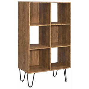 Industrial Wood and Metal Bookshelf with Hairpin Legs