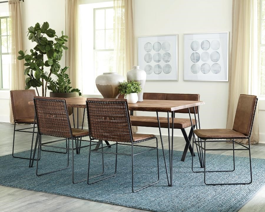 Sherman 6-Piece Dining Set w/Bench by Coaster at Beck's Furniture