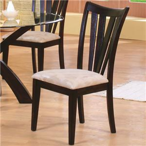 Contemporary Vertical Slat Side Chair with Fabric Seat