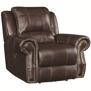 Traditional Swivel Rocker Recliner with Nailhead Studs