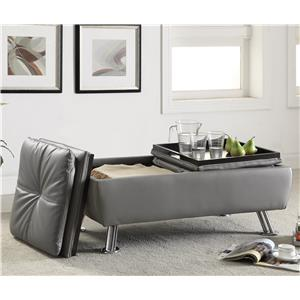 Storage Ottoman with Chrome Legs