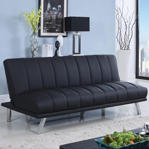Leatherette Sofa Bed with Vertical Channel Design