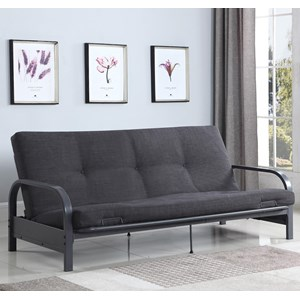 Contemporary Futon with Metal Arms  - Mattress Not Included