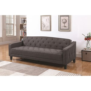 Grey Sofa Bed with Diamond Tufting