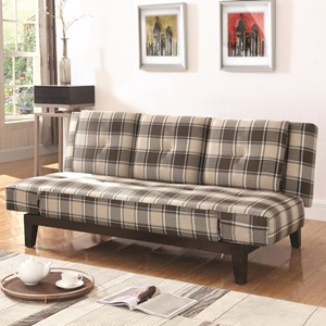 Plaid Convertible Sofa with Adjustable Arms