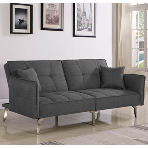 Contemporary Convertible Sofa Bed with Split Back and Metal Legs