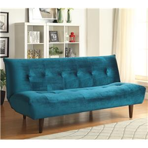 Teal Velvet Sofa Bed with Solid Wood Legs & Tufted Back