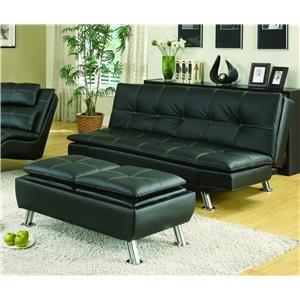 Black Sofa Bed & Ottoman