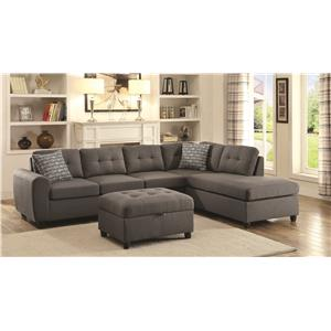 Grey Contemporary Sectional with Button Tufted Cushions