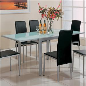 Frosted Glass Dining Table with Metal Extensions