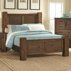 King Bed with Block Posts