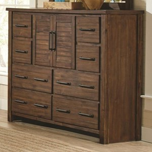 Tall Dresser with 2 Doors & Wire Brushed Acacia Veneer