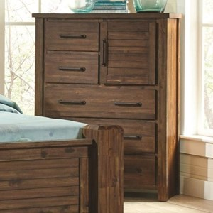 Chest with Door & Wire Brushed Acacia Veneer