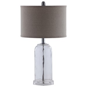 Glass Base Table Lamp with White Shade