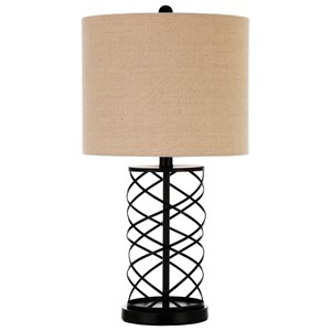 Table Lamp with Twisted Bronze Base
