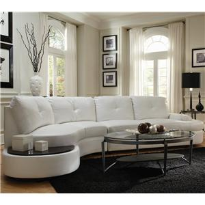Contemporary Sectional Conversation Sofa with Built-In Table