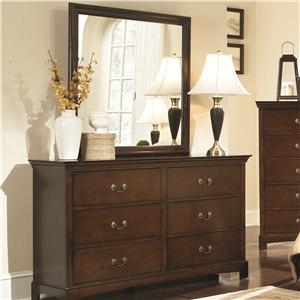 Transitional Six Drawer Dresser and Mirror Combination