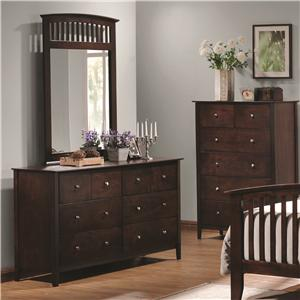 Coaster Tia Dresser & Mirror Combo