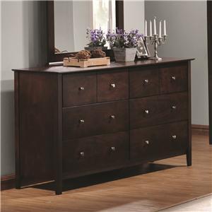 6 Drawer Dresser with Brushed Nickel Hardware