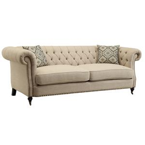 Traditional Button Tufted Sofa with Large Rolled Arms and Nailheads