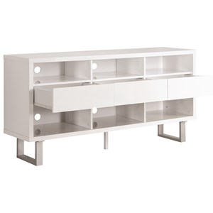 Contemporary TV Stand with Glossy White Finish