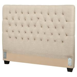 Queen Upholstered Headboard with Tufting in Light Color Fabric