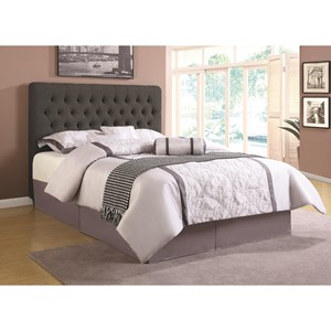 Full Upholstered Headboard with Tufting in Light Color Fabric
