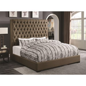 Upholstered California King Bed with Diamond Tufting