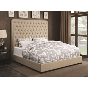 Upholstered King Bed with Diamond Tufting